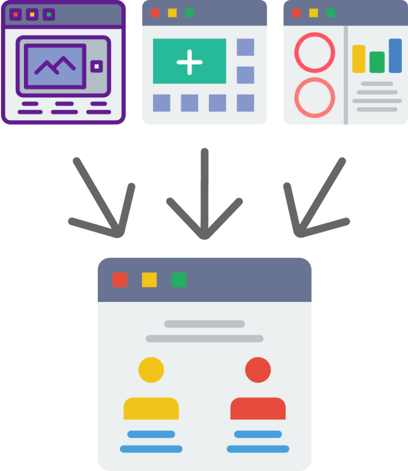 Vector icon art showing how you can take inspiration from different websites to build your own website.