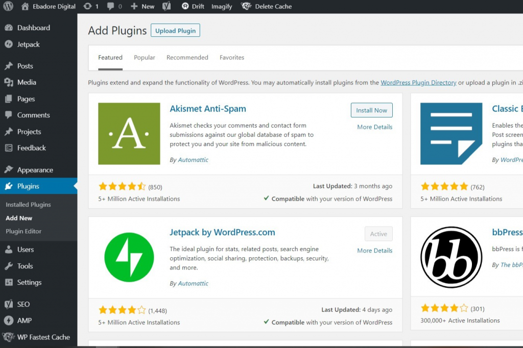 A screenshot of the backend of WordPress plugins add new page