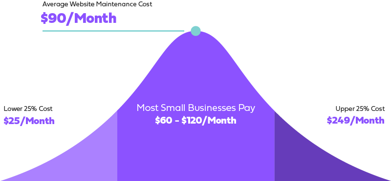 Price chart showing the average price of monthly website maintenance